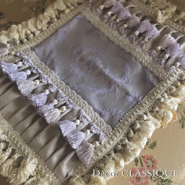 エレガントピロークッション:ブドワールピロー:フレンチラベンダー・フリンジ付き長方形 Decor CLASSIQUE|decor-classique|11