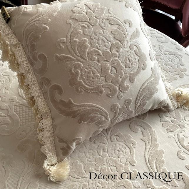 2個セット:フリンジ付きベルベットダマスククッション:エクリュダマスク Decor CLASSIQUE|decor-classique|02