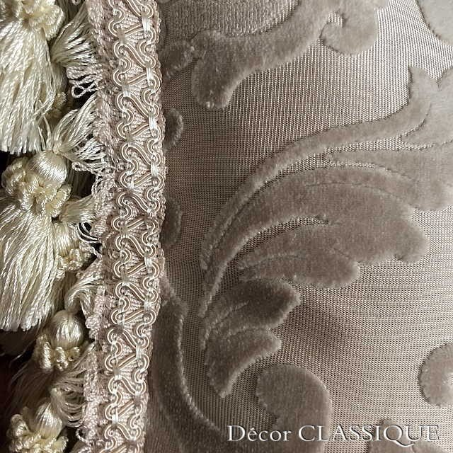 2個セット:フリンジ付きベルベットダマスククッション:エクリュダマスク Decor CLASSIQUE|decor-classique|08