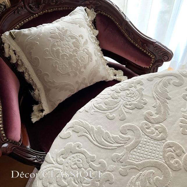 2個セット:フリンジ付きベルベットダマスククッション:エクリュダマスク Decor CLASSIQUE|decor-classique|10