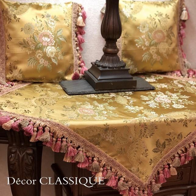 フリンジ付きプチクッション ヴィンテージイタリアンフローラルブロケードリッチゴールド Decor CLASSIQUE decor-classique 11