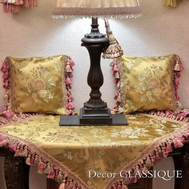 フリンジ付きプチクッション ヴィンテージイタリアンフローラルブロケードリッチゴールド Decor CLASSIQUE decor-classique 10