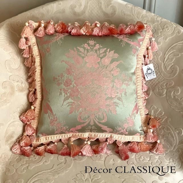 フリンジ付きクッション ローズモメント ピンク Decor CLASSIQUE decor-classique