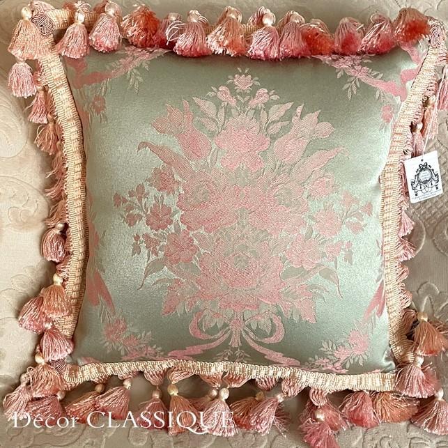 フリンジ付きクッション ローズモメント ピンク Decor CLASSIQUE decor-classique 03