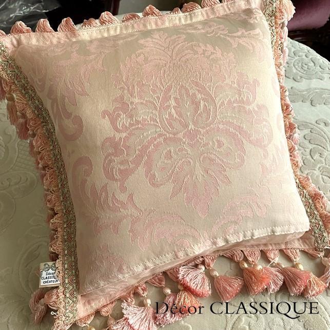 フリンジ付きクッション ローズモメント ピンク Decor CLASSIQUE decor-classique 09