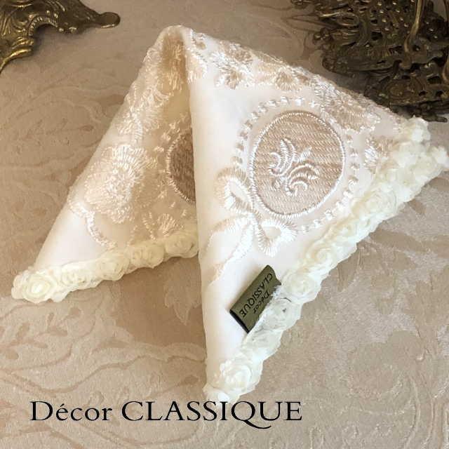 カクテルナプキン:エレガントティーナプキン:淑女の扇とフルールドリスボゥ Decor CLASSIQUE|decor-classique