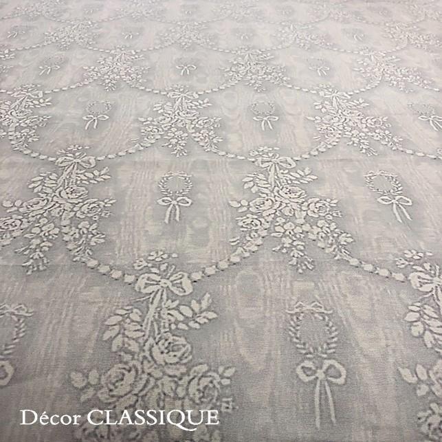 グレーのリボン柄テーブルクロス 撥水加工:長方形/正方形/円形:ビジューボゥフルール:Decor CLASSIQUE|decor-classique|02