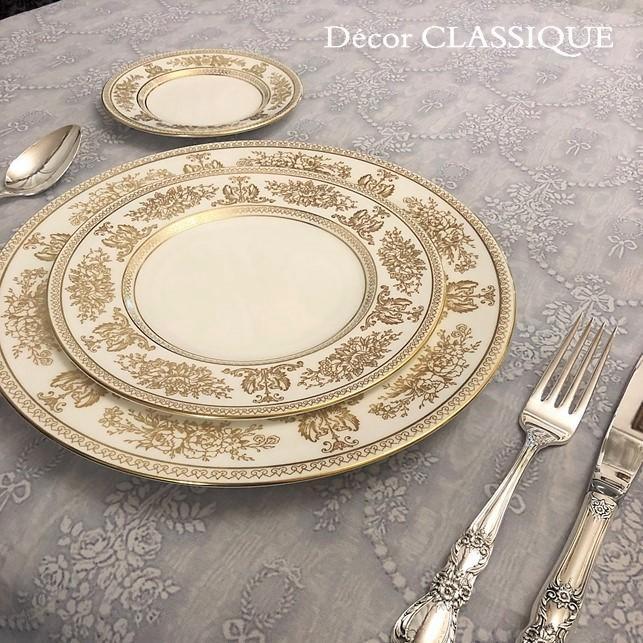 グレーのリボン柄テーブルクロス 撥水加工:長方形/正方形/円形:ビジューボゥフルール:Decor CLASSIQUE|decor-classique|12