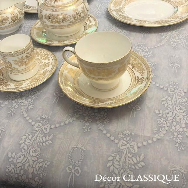 グレーのリボン柄テーブルクロス 撥水加工:長方形/正方形/円形:ビジューボゥフルール:Decor CLASSIQUE|decor-classique|03