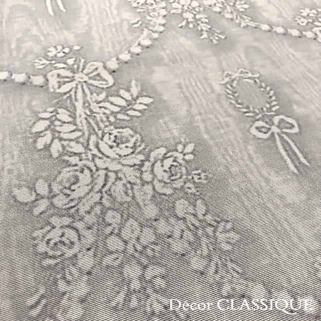 グレーのリボン柄テーブルクロス 撥水加工:長方形/正方形/円形:ビジューボゥフルール:Decor CLASSIQUE|decor-classique|06