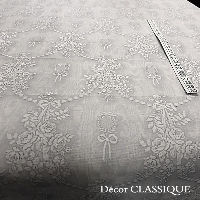 グレーのリボン柄テーブルクロス 撥水加工:長方形/正方形/円形:ビジューボゥフルール:Decor CLASSIQUE|decor-classique|07