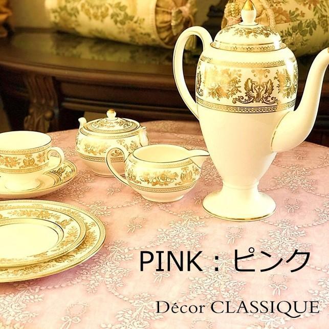 グレーのリボン柄テーブルクロス 撥水加工:長方形/正方形/円形:ビジューボゥフルール:Decor CLASSIQUE|decor-classique|10