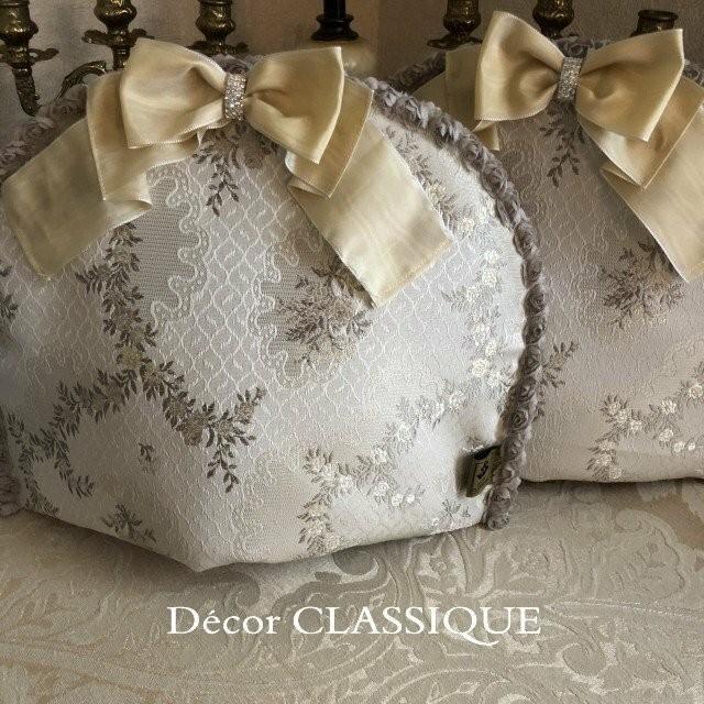 ティーコゼー・ティーコージー・ティーポットカバー:エレガントローズシリーズ:エクリュローズ モアレリボン付き:Decor CLASSIQUE decor-classique