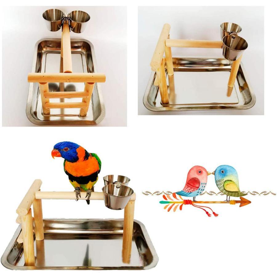 バードアスレチック 鳥スタンド 止まり木 餌台 鳥かご インコ オウム 遊園地 ブランコ ケージスタンド|deepark-store|05