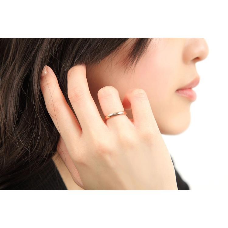 ペアリング 2本セット ステンレス 指輪 メンズ レディース 天然ダイヤモンド シルバー ピンクゴールド delacruz 06