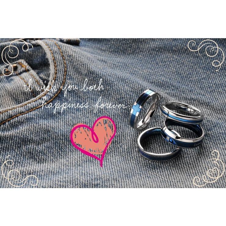 ペアリング 2本セット ステンレス 指輪 メンズ レディース ブルー 選べる4種類|delacruz|03