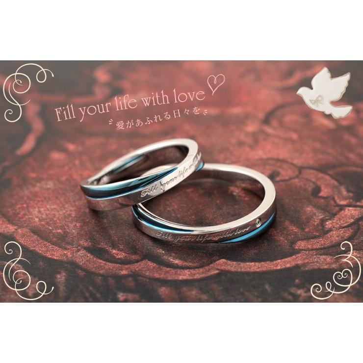 指輪 メンズ レディース ステンレス ペアリングに ブルー ピンクゴールド ガンメタル キュービックジルコニア|delacruz|04