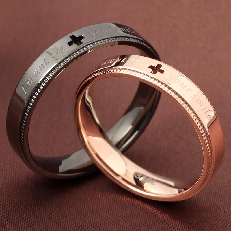 指輪 メンズ レディース ステンレス ペアリングに ピンクゴールド ガンメタル クロスの透かしデザイン|delacruz