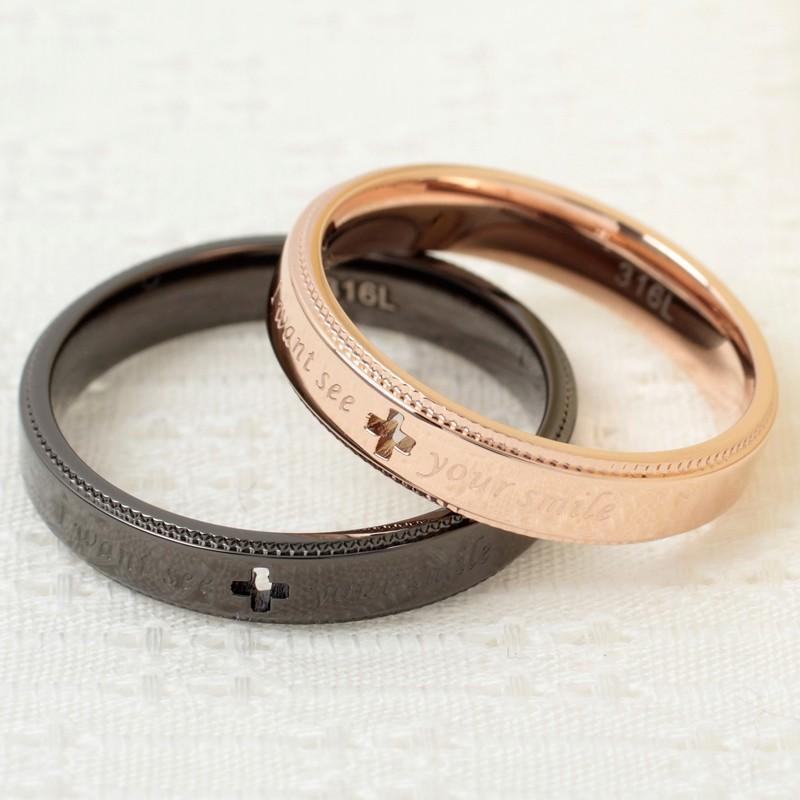 指輪 メンズ レディース ステンレス ペアリングに ピンクゴールド ガンメタル クロスの透かしデザイン|delacruz|02