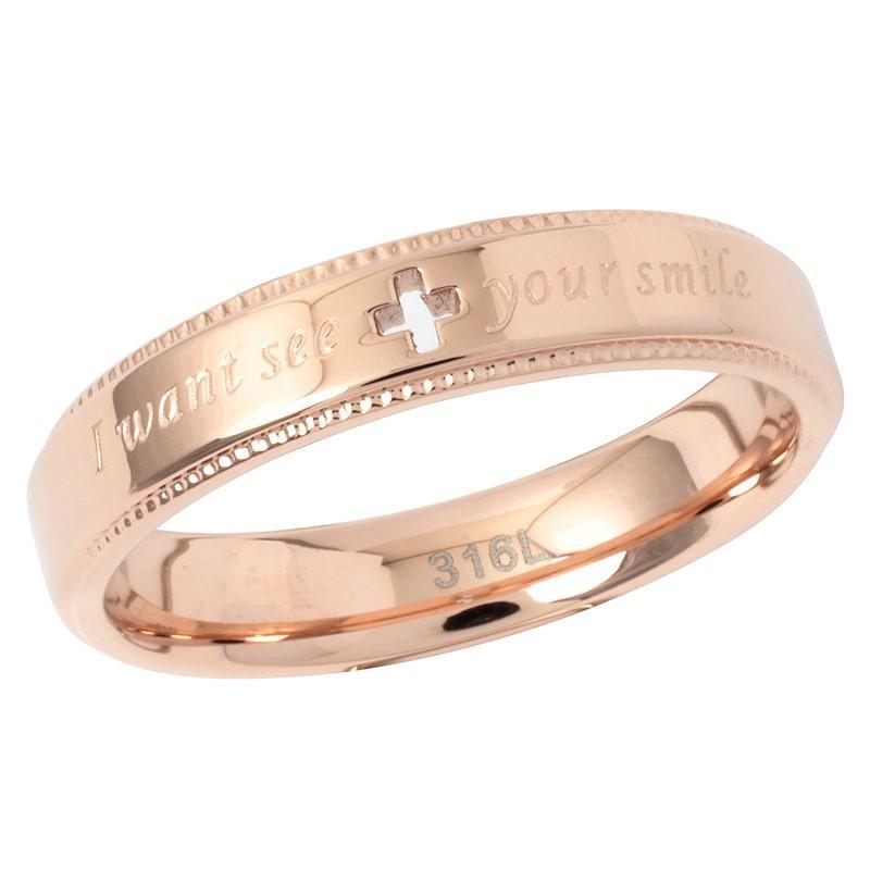 指輪 メンズ レディース ステンレス ペアリングに ピンクゴールド ガンメタル クロスの透かしデザイン|delacruz|03