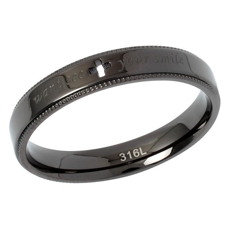 指輪 メンズ レディース ステンレス ペアリングに ピンクゴールド ガンメタル クロスの透かしデザイン|delacruz|04