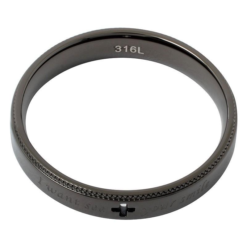 指輪 メンズ レディース ステンレス ペアリングに ピンクゴールド ガンメタル クロスの透かしデザイン|delacruz|06