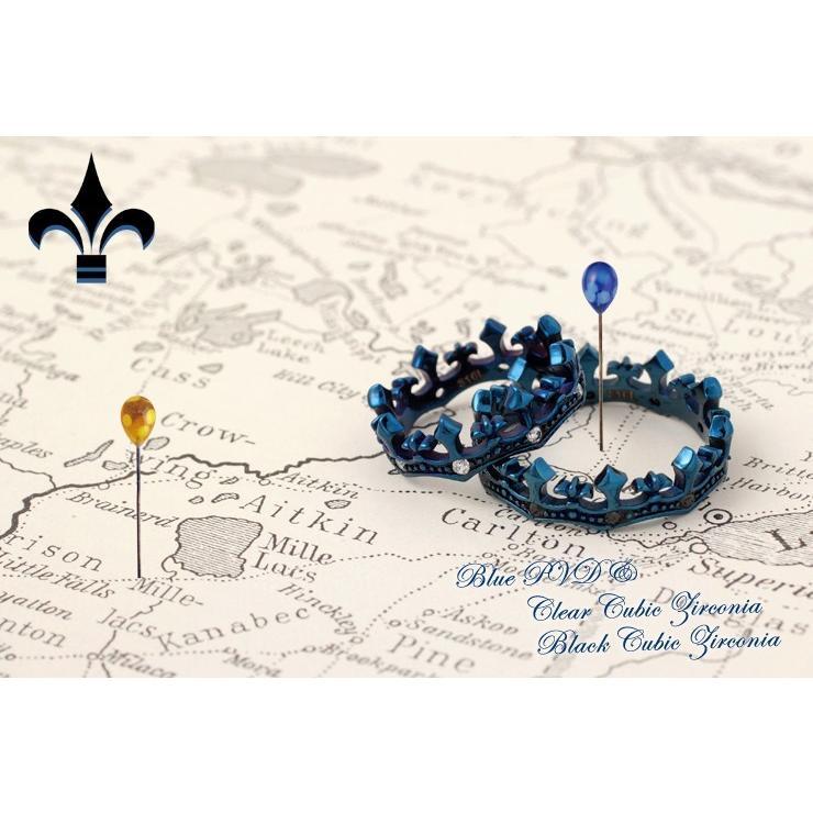 ペアリング 2本セット ステンレス 指輪 メンズ レディース キュービックジルコニア クラウン 王冠|delacruz|05