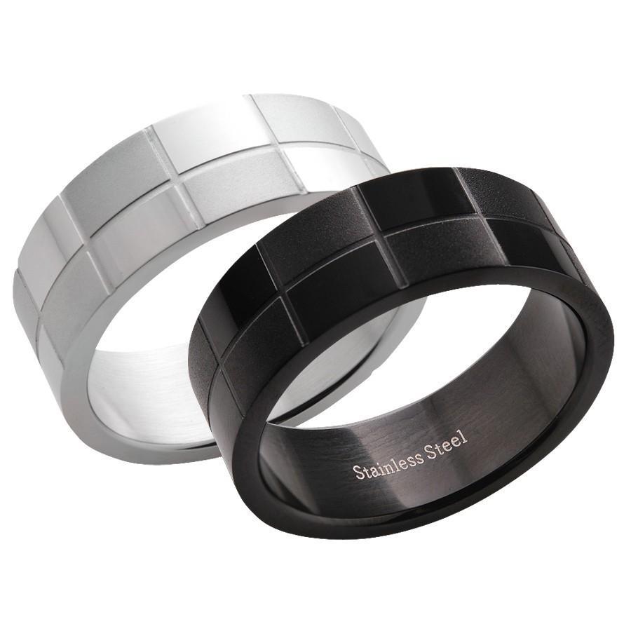 指輪 メンズ ステンレス シルバー ブラック メンズリング チェック柄|delacruz