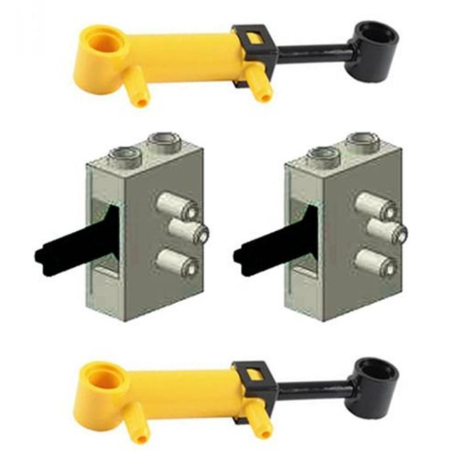 おもちゃ ゲーム 積み木 レゴ ブロック LEGO 4 pcs Technic NEW PNEUMATIC LOT of 2 Mini Piston 32mm Cylinders AND 2 Old グレー Air Valve