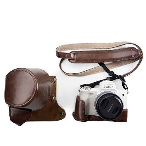 kinokoo Canon EOS Kiss M/EOS M50専用カメラケース カメラバッグ 15-45 mm レンズ 対応 バッテリーの交換でき 三脚ネジ穴|deligo-store|06