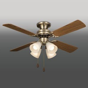 タキズミ シーリングファン 電球別売タイプ 風量切替機能付 60W形相当まで×4 金古美色メッキ仕上 オーク/ホワイトオーク TLFP4009