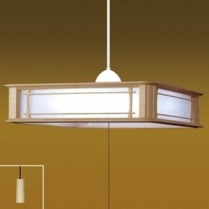 タキズミ ペンダントライト和風LEDタイプ 樹脂枠白木調 プラスチックセード(乳白色) 12畳用 プルスイッチ付 昼光色 RV12073