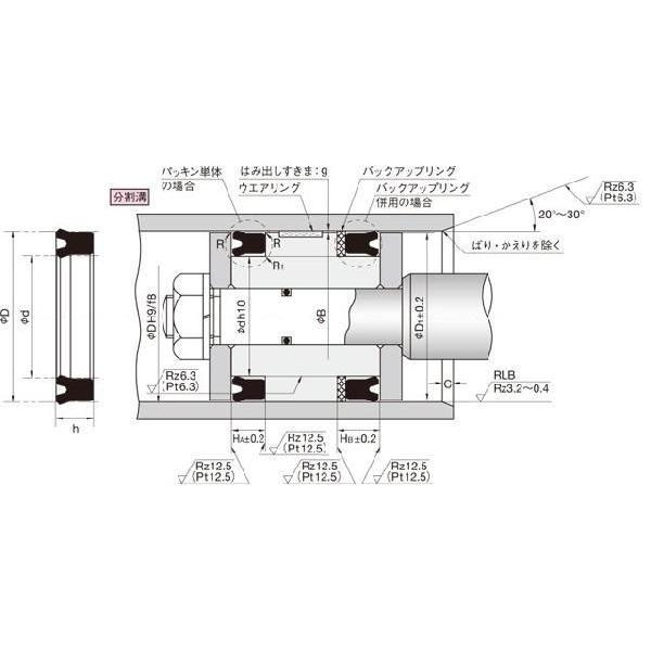NOK パッキン UPH 530 570 20 (CU2084D0) ピストン・ロッドシール両用パッキン UPH型