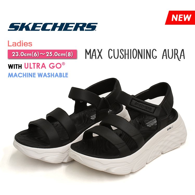 スケッチャーズ サンダル マックス クッショニング オーラ レディース ブラック/ホワイト 厚底 スポサン SKECHERS Max Cushioning Aura 111126|denpcy