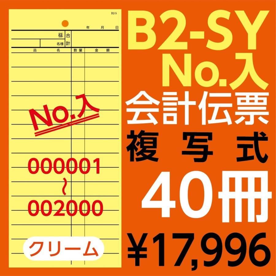 B2-SY会計伝票ナンバリング有(6桁)000001〜002000 2枚複写 ヨコ85mm×タテ195mm(ミシン15本入)40冊 denpyo-koubou