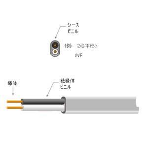 カワイ電線 VVF2.6×2C 100メートル (黒白) VVF 600Vビニル絶縁ビニルシースケーブル 平形