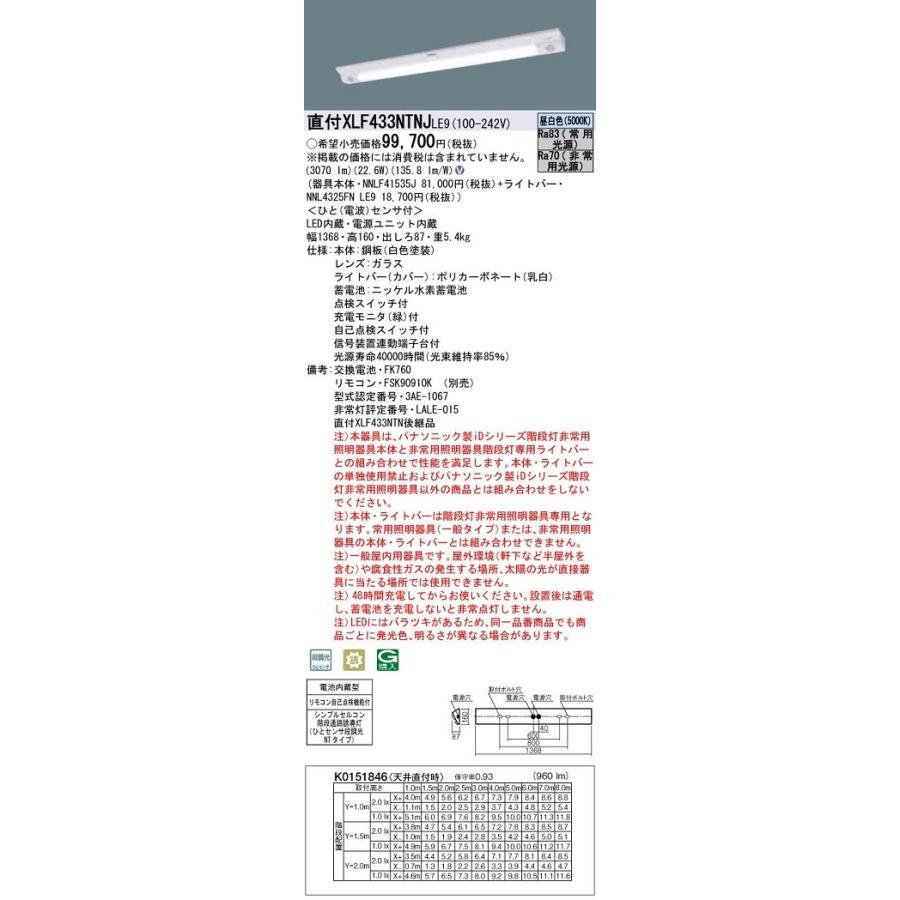 パナソニック XLF433NTNJLE9 40形一体型LEDベースライト 壁・天井直付兼用型 非常時LED30分間タイプ ひとセンサ段調光・昼白色 Hf32形高出力型1灯器具相当