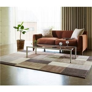 ds-2056228 ベルギー製 ウィルトンラグ/絨毯 【ブラウン 約240cm×330cm】 長方形 高耐久『スタイリッシュブロック』
