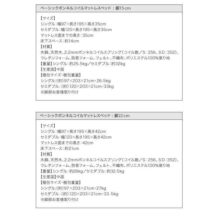 マットレス ベーシックボンネルコイル マットレス ベッド セミダブル 脚22cm (CO)|denzo|04