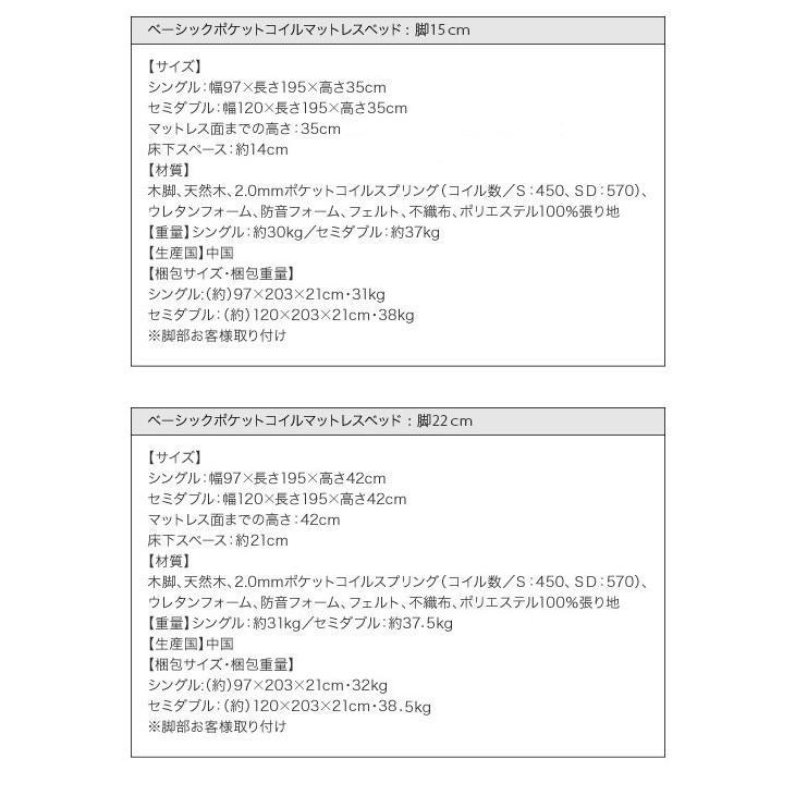 マットレス ベーシックボンネルコイル マットレス ベッド セミダブル 脚22cm (CO)|denzo|05