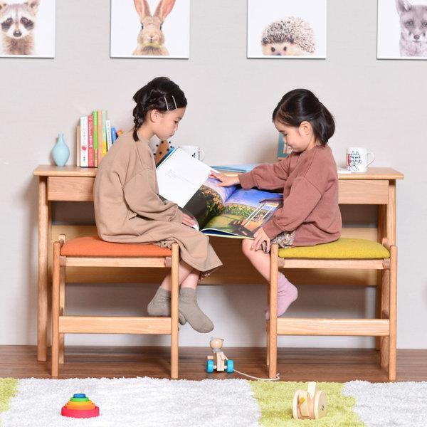学習机 シンプル ツインデスク リビング学習 椅子付き 幅135 オーク 3点セット レプトン ISSEIKI denzo 02