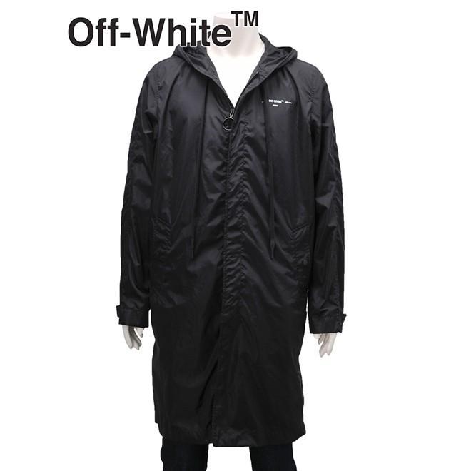 オフホワイト ヴァージルアブロー OFF-白い メンズ ブラック レインコート ポリアミドハーフ丈パーカー オーバーサイズ