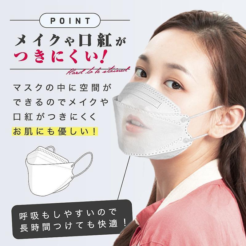 KF94 マスク 50枚入り 柳葉型 立体マスク 韓国風 口紅がつきにくい 飛沫防止 4層フィルター 99%カット 男女兼用 使い捨て 通気性 小顔効果 送料無料|deris|02