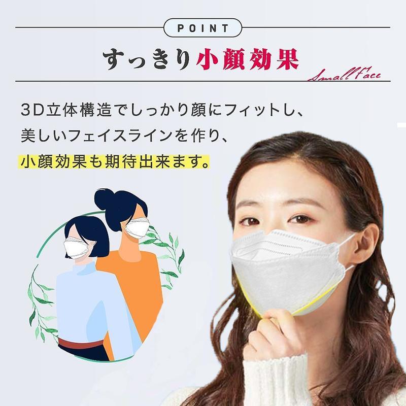 KF94 マスク 50枚入り 柳葉型 立体マスク 韓国風 口紅がつきにくい 飛沫防止 4層フィルター 99%カット 男女兼用 使い捨て 通気性 小顔効果 送料無料|deris|04
