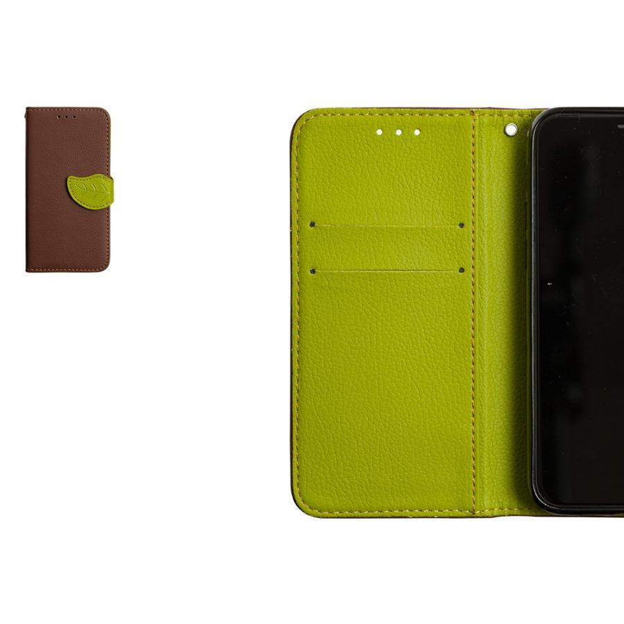 iPhone11 ケース手帳型 アイフォン11 ケース iPhone8 ケース iPhone11proケース iPhone7 ケース おしゃれ 緑 茶 dm「リーフ」 designmobile 13
