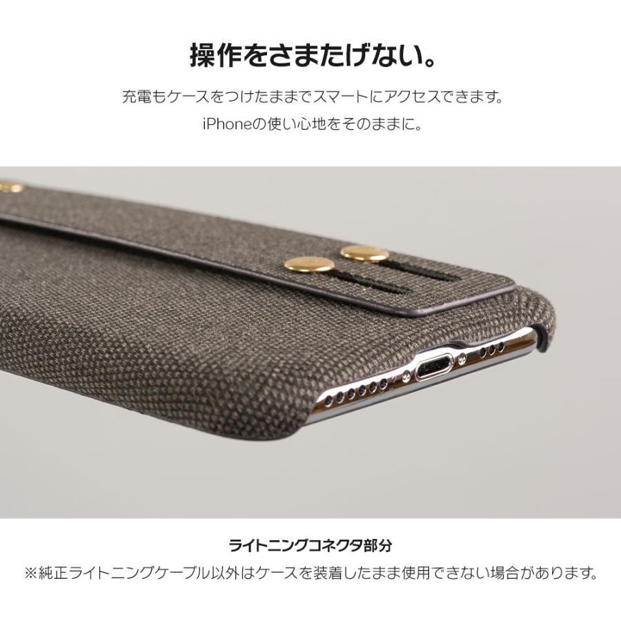iPhone11 ケース アイフォン11 ケース iPhone8 ケース iPhone11proケース XR ケース ファブリック ベルト リング 落下防止 dm「ファブリックホールド」 designmobile 10