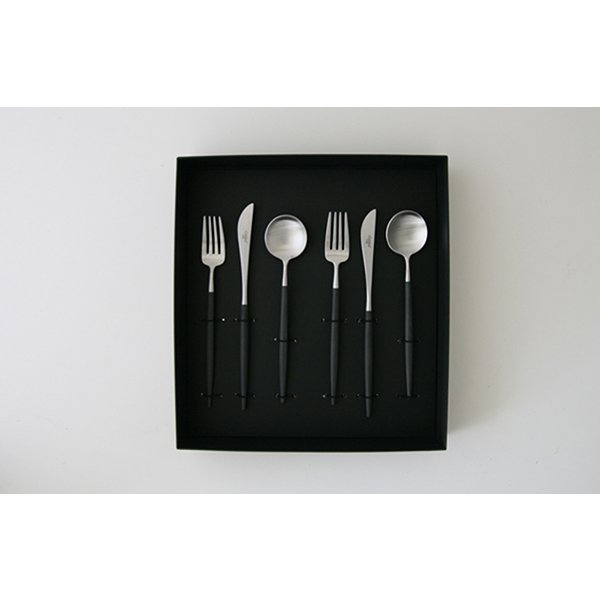 Cutipol GOA クチポール カトラリー ゴア  ブラック デザート6ピースセット ギフトボックス入り|designshop-jp|02