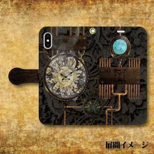 スチームパンク調 タイムマシン 機械 時計 歯車 レトロ iPhone アイフォン スマホケース 手帳型ケース|dezagoods|05