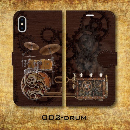 スチームパンク調 歯車 楽器 機械仕掛け レトロ SF 蒸気機関 iPhone アイフォン スマホケース 手帳型ケース dezagoods 03