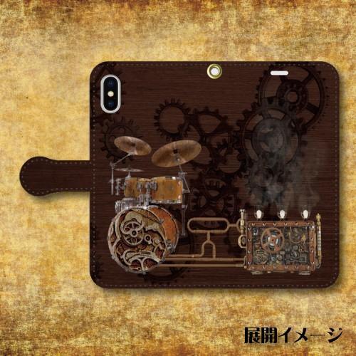 スチームパンク調 歯車 楽器 機械仕掛け レトロ SF 蒸気機関 iPhone アイフォン スマホケース 手帳型ケース dezagoods 05